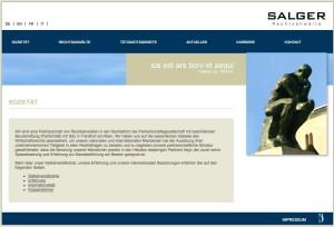 Die bisherige, statische Homepage von Salger Rechtsanwälte.