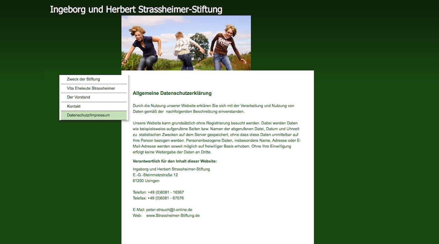 Datenschutz der Ingeborg und Herbert Strassheimer Stiftung