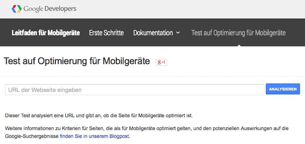 Google Test auf Optimierung fuer Mobilgeraete