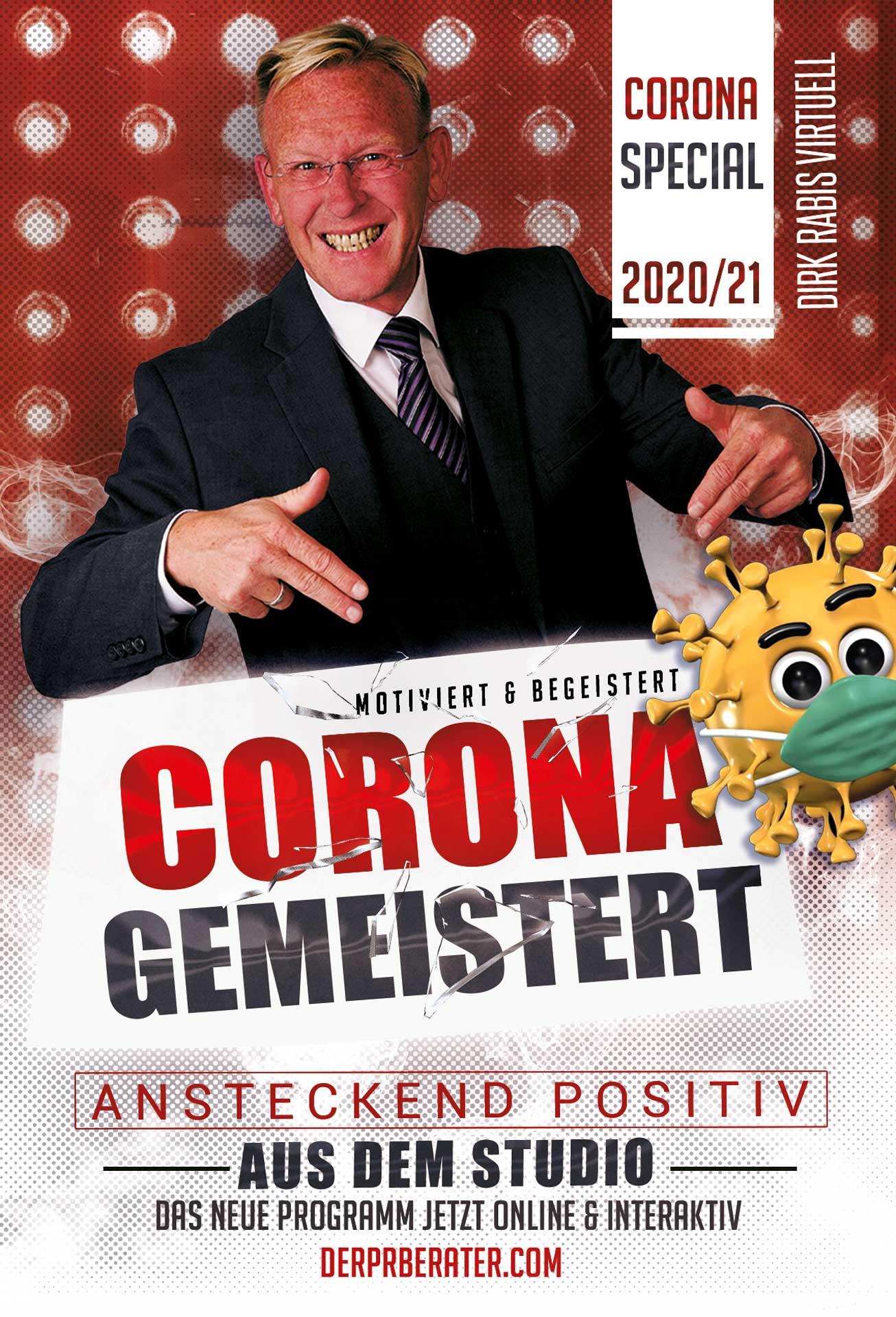 Motiviert und begeistert Corona gemeistert. Das Programm 2020/21. Video-Talk Flyer mit Dirk Rabis.