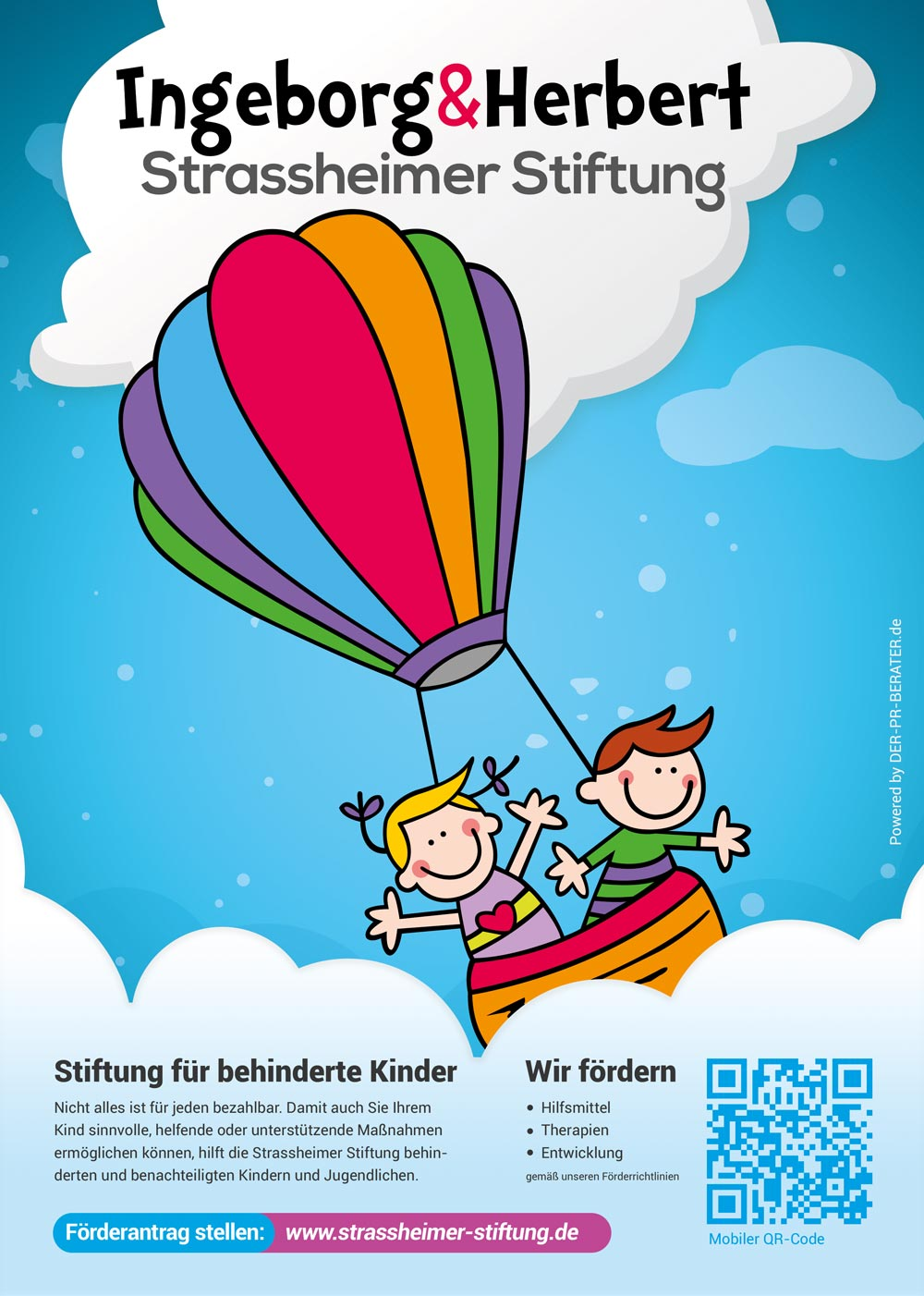 Ein PR / Info-Flyer der Strassheimer-Stiftung mit QR-Code