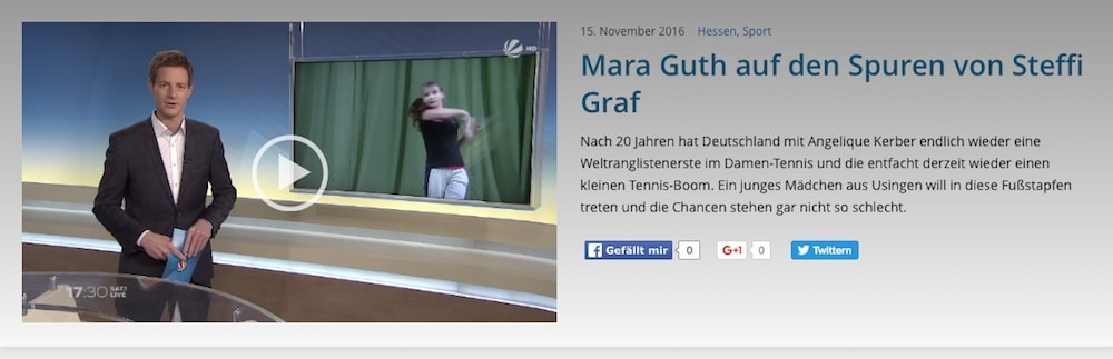 Deutschland erfolgreichstes Tennistalent, SAT.1 Fersehreportage