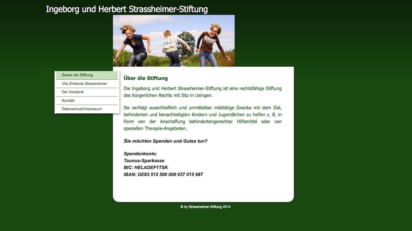 Alte Startseite der Ingeborg und Herbert Strassheimer Stiftung