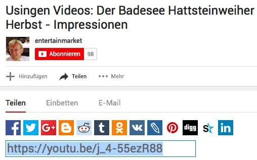 Usingen-Videos teilen: Über YouTube Link auf der eigenen Homepage einbinden