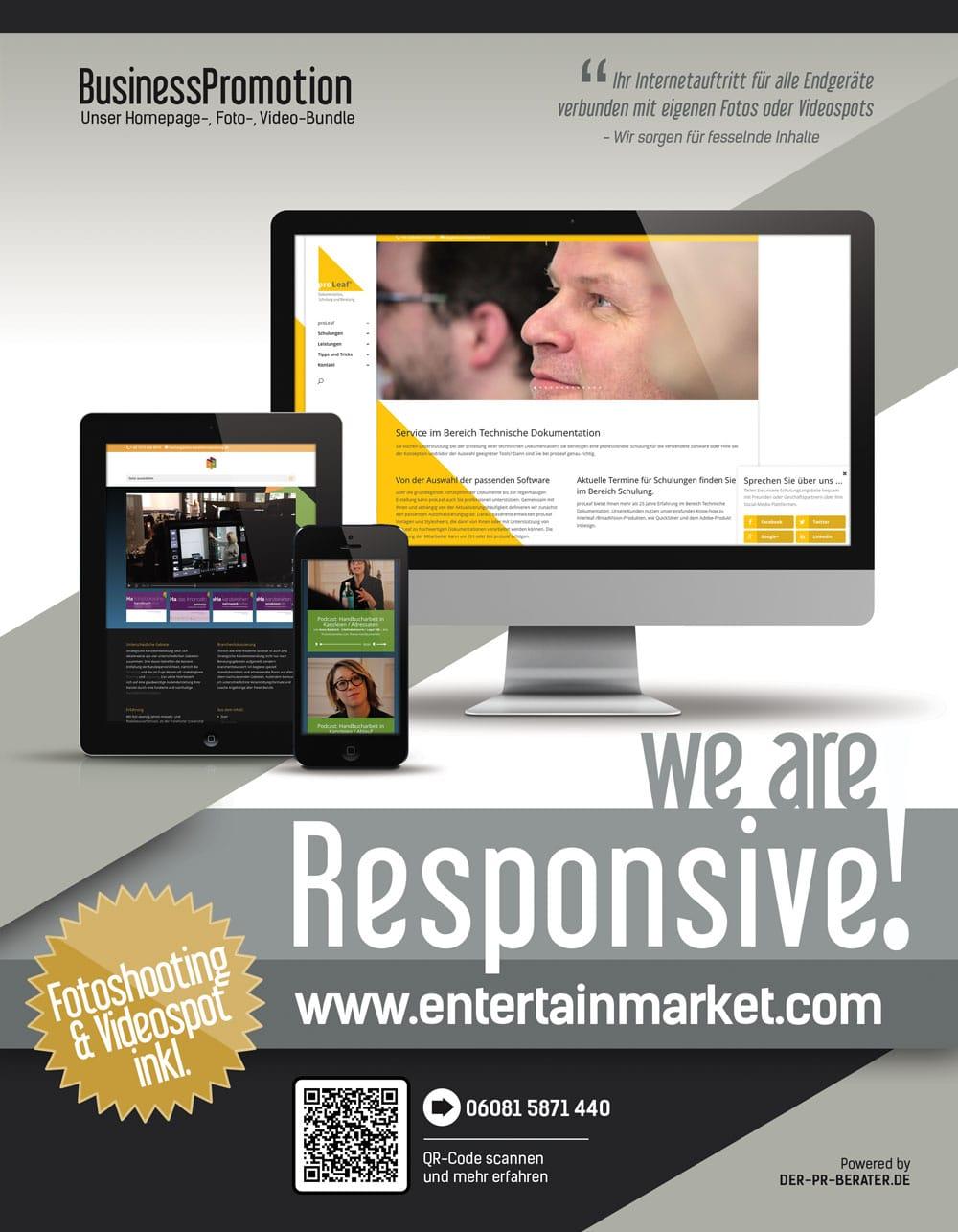 Professionelles Fotoshooting und Videoproduktionen bringen Bewegung ins Internet. Neues Business Bundle für Unternehmen inkl. responsive Homepage.