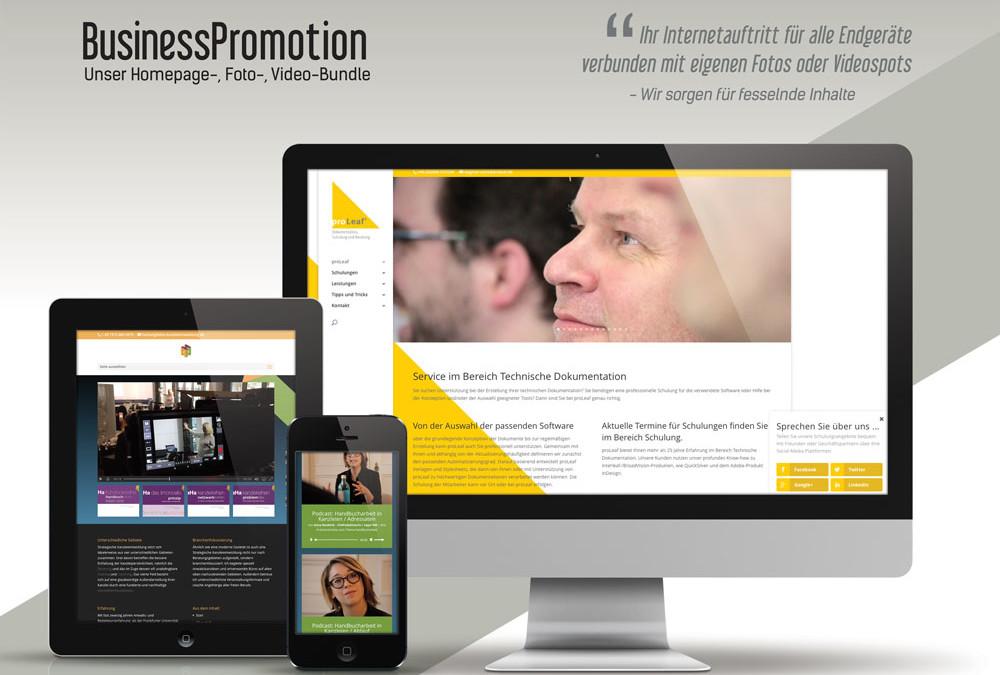 Responsive Homepage inkl. Fotoshooting und Videoproduktion